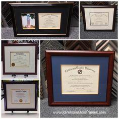 Custom Design and Custom Frame Diploma by Karen's Detail Custom Frames, Orange County CA