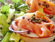 Lox, Bagels & Cream cheese-I'm not a caper fan but I love red onion