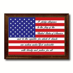 The Pledge of Allegiance American USA Flag Canvas Print with Brown Picture Frame Home Decor Wall Art Gift Ideas