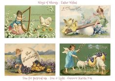 Wings of Whimsy: Easter Wishes #vintage #ephemera #printable #freebie #easter #chicks #cherub