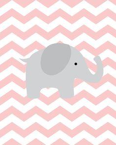 Baby Girl Nursery Art Chevron Elephant Nursery by SweetLittleBarn Quartos Chevron, Baby Elephant Nursery, Girl Nursery, Nursery Art, Girls Bedroom, Nursery Decor, Scrapbook Bebe, Baby Sister, My Baby Girl