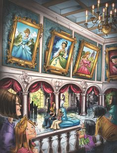 fancysomedisneymagic:    THE PRINCESS FAIRYTALE HALL  The long-awaited Fantasyland Expansion will open its doors December this year, but starting next year, it will feature quite the magical addition: the Princess Fairytale Hall (concept art above).  This new Meet-and-Greet spot will be a gallery with glass art with scenes from the films and portraits of the twelve official Disney Princesses at the time, which are in chronological order: