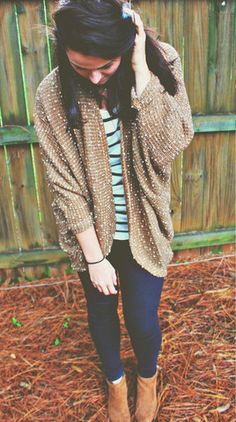 Cozy White Speckled Camel Cardi – Simply Taralynn Collection