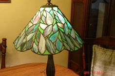 Stained Glass Lamp in Blues Greens and Purple by twillobee on Etsy