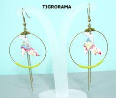 boucles d'oreille origami cocotte fleurie ,  perles anis et pendants de la boutique TIGRORAMA sur Etsy