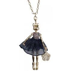 Squirrel with Navy Skirt Necklace - Servane Gaxotte
