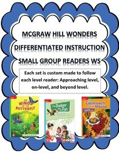 (Note: Fiction weeks come with 3 separate worksheets for each leveled reader)  MCGRAW HILL WONDERS DIFFERENTIATED INSTRUCTION Small Group Reader Worksheets: Approaching level, On-level, and Beyond level.  These are excellent for small groups. The questions guide the student through the each small group story.