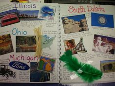 Regions Unit--students spend one week traveling through each of the four main regions of the United States - the Northeast, South, Midwest, and West during the unit. While in each region, students learn about its people, weather, history, traditions, landmarks, etc. They create scrapbooks of photographs and souvenirs from each stop on the tour. (Such a great idea!)