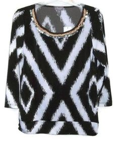 CHICO'S NEW $89 Travelers Embellished Geo Banded Top Size 0 = 4 Women's Blouse #Chicos #Blouse #Career