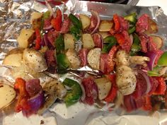 No grill? Broiled kabobs...LOVE THIS! Beef, green/red peppers, red onions, mushrooms, red potatoes. Mix all together with a tbsp (or 2) of olive oil and Montreal Steak Seasoning. Broil about 12-15 mins-turning every 3 mins. Sooo easy and delicious! *I diced the potatoes then put them in a bowl with a little bit of water for 2 mins before putting them on the kabobs.