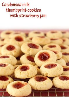 condensed milk thumbprint cookies with strawberry jam