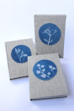 Cyanotype journals for travel books, diaries, poetry. Linen cover, cyanotype on fabric.