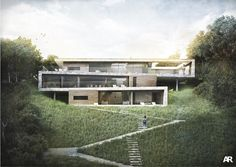 cantilevered contemporary architecture rendering mountain - Google Search