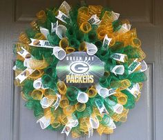 """Go Pack Go!! Green Bay Packers wreath!! Like my facebook page """"Porch Appeal by Jen"""" and place your order now!"""