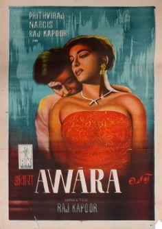 Kapoor's, # Awara, original poster on StoryLtd Old Movie Posters, Cinema Posters, Movie Poster Art, Film Posters, Retro Posters, Vintage Posters, Old Bollywood Movies, Bollywood Posters, Vintage Bollywood