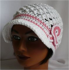 Crochet Brim Hat- Breast Cancer awareness White by theedgeof17, via Flickr