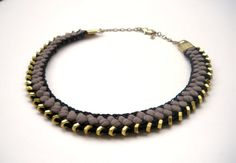 Taupe and Black Braided  and Crochet Fabric necklace with  Brass hex Nut