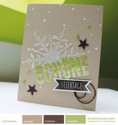 Kreativersum, Stampin' Up!, SU, Karte, Weihnachten, Malerischer Winter, Flüsterweiß, Savanne, Espresso, Farngrün