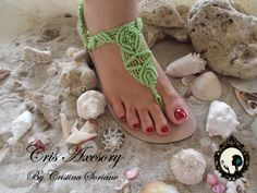 sandalia verde macrame Macrame Bag, Paracord, Me Too Shoes, Flip Flops, Slippers, How To Wear, Style, Google, Beauty