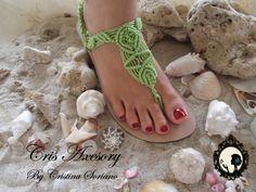sandalia verde macrame