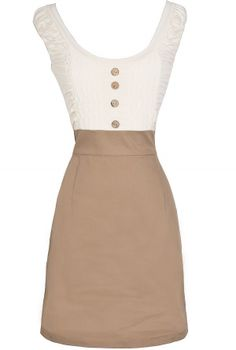 Two In One Button Front Pencil Dress in Ivory/Beige  www.lilyboutique.com