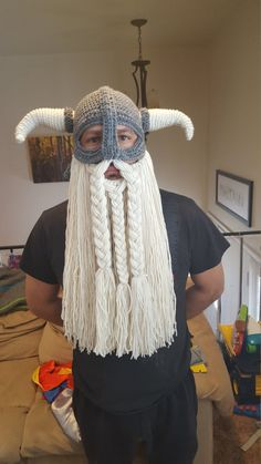 Make your very own Viking hat, with detachable beard! This pattern is to make an adult size hat. Written in US crochet terms. Easy to intermediate skill level. Crochet Viking Hat, Crochet Men, Crochet Hats, Crochet Beard, Knitted Hats, Beard Hat, Crochet Costumes, Viking Helmet, Viking Beard