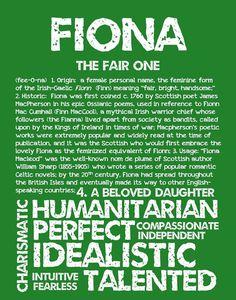 FIONA Personalized Name Print / Typography Print / by OhBabyNames