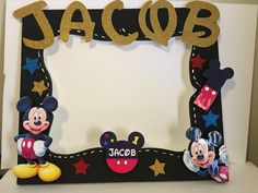 mickey mouse photobooth frame stars glitter - Mickey Mouse Picture Frame