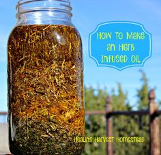 """If you want to make herbal salves, you need to infuse your herbs in oil first! Herb infused oils are great to use for soap making, salves, body oils, and butters! Plus, they look pretty cool on your shelves. I always get asked, """"What is that?"""" with fingers pointing toward my herbal"""
