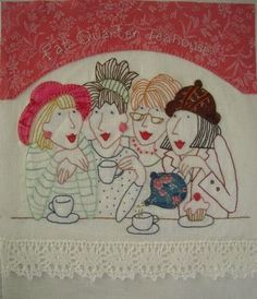 Fat Quarter Teahouse Stitchery by Fiona Marie Clark Hand Embroidery Designs, Embroidery Applique, Cross Stitch Embroidery, Machine Embroidery, Applique Patterns, Applique Quilts, Red Brolly, Fabric Art, Textile Art