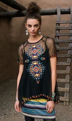 Double D Ranch Summer/Transition 2015 ' Canyon De Chelly ' Top! 2 Colors! - embroidery, sheer, sexy, western, chic, ladies, mama