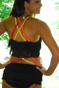 One of A Kind Custom Competition Dance Costume AXS Rhinestones Black Fringe | eBay