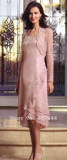 Hot sell pink CHIFFON A line tea length beadiing mother of the bride dress /mother dress with long sleeves jacket-in Mother of the Bride Dresses from Apparel & Accessories on Aliexpress.com