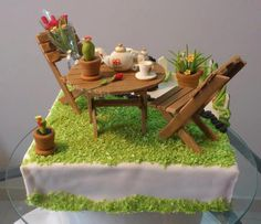 Garden setting surprise birthday cake for claire & terajo ca Crazy Cakes, Fancy Cakes, Cute Cakes, Yummy Cakes, Cake Icing, Eat Cake, Cupcake Cakes, Fondant Cakes, Beautiful Cakes