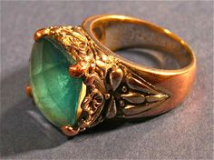 Antique Costume Jewelry Blue Topaz And Metal Copper Ring
