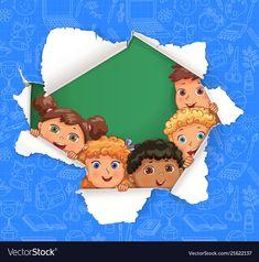 Broken hole in paper with school pattern and vector image on VectorStock Cartoon Bee, Cartoon Kids, Education Templates, Boarders, Clipart, Adobe Illustrator, Vector Free, Kindergarten, Branding