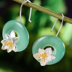 Material - high quality of sterling silver 925 with stamp. Color - sterling silver, gold plated and green. Valentine Gifts, Wind Chimes, Dangle Earrings, Dangles, Christmas Gifts, Gemstones, Sterling Silver, Lotus Flower, Silver Bracelets