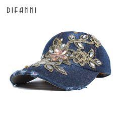 Difanni Summer Baseball Cap For Women Flower Rhinestone Denim Baseball Cap  Gorras Fall Hat For Womens 90e3309eac66