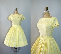 Vintage 1950s Dress  Pale Lemon Yellow Cotton and by Sweetbeefinds, $128.00