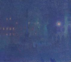 Charles Johann Palmié (German, 1863-1911), München bei Nacht (Marienplatz) [Munich at night (Marienplatz)], 1907. Oil on canvas, 73 x 83 cm.
