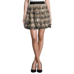 Alice + Olivia Cina Feather Flared Mini Skirt ($495) ❤ liked on Polyvore featuring skirts, mini skirts, multi colors, feather mini skirt, a-line skirt, tiered skirt, short brown skirt and short mini skirts