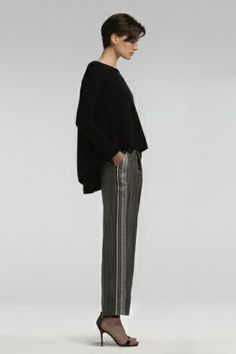 TSE Cashmere Draped Back Sweater paired with TSE Printed Silk Pants.