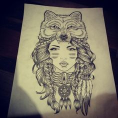 Wolf and girl old school tattoo