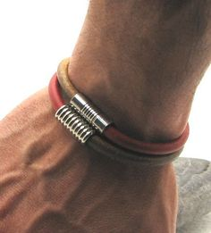 FREE SHIPPING Men's leather bracelet Natural and by eliziatelye