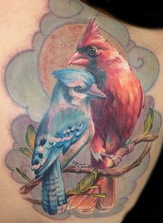 Blue Jay & Cardinal Ink...  Both these birds hold significance for me since my husband's passing.. I love the tattoo.