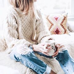 Fur accents and vibrant throw pillows, cozy up in creamy cable-knit with @liketoknow.it.home decor tips from @jessannkirby | Get ready-to-shop #LTKhome details with www.LIKetoKNOW.it | http://liketk.it/2po2Y #liketkit