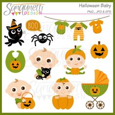 Halloween baby clipart includes a black cat, boo speech bubble, baby clothesline, spider, bib, baby holding cat, baby in pumpkin costume, pumpkin, baby holding treat basket, baby peeking out of pumpkin and carriage.