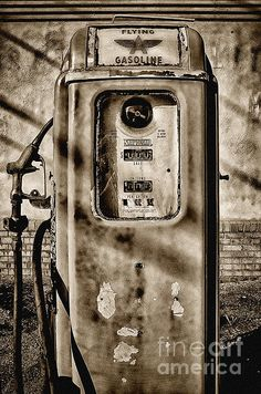 Vintage Gas Pump Sepia Fine Art Prints and Posters for Sale