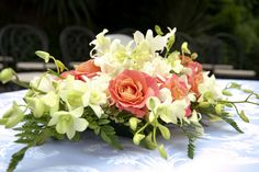Coral and Ivory Wedding Flowers Centerpiece