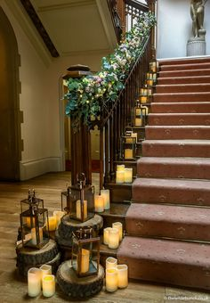 A stunning floral garland on the main staircase at St Audries Park. All flowers, Lanterns and styling by top Bristol Wedding Florists, The Wilde Bunch. Our Wedding Day, Summer Wedding, Wedding Events, Wedding Ideas, Wedding Stairs, Wedding Table, Floral Wedding, Wedding Flowers, Floral Garland